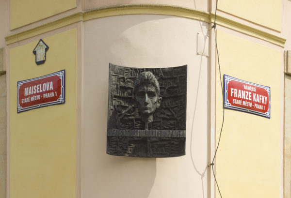 A plaque in Prague commemorates author Franz Kafka in Prague. Photo by Andrew Shiva via Wikimedia Commons