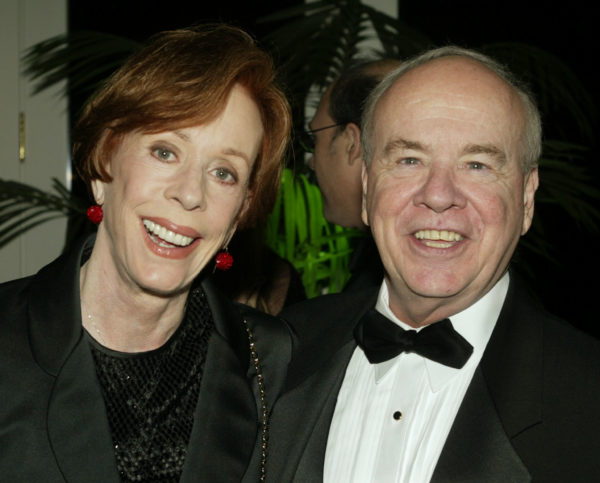 """Actor Tim Conway poses with actress Carol Burnett at the Academy of Television Arts & Sciences 15th annual Hall of Fame ceremony November 6, 2002 in Beverly Hills. Conway, best known for his comedy work on """"The Carol Burnett Show"""" was inducted into the academy's Hall of Fame which honors legendary television performers. Photo by Fred Prouser/Reuters"""