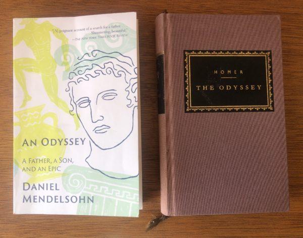 "Daniel Mendelsohn's ""An Odyssey"" (2017) alongside Homer's ""Odyssey,"" published more than 2,800 years ago. Photo credit: Elizabeth Flock"