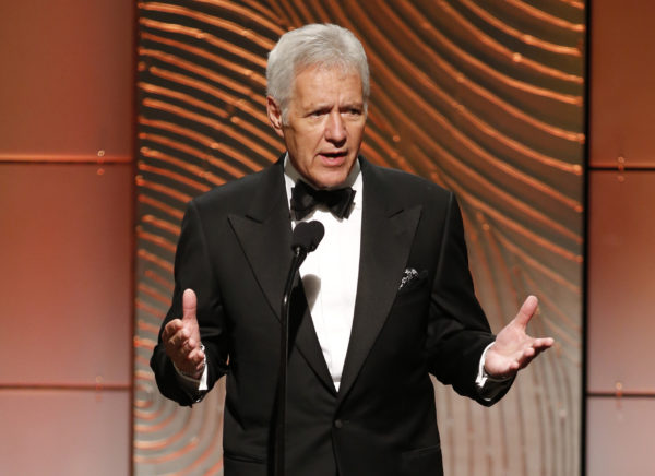 Jeopardy television game show host Alex Trebek speaks on stage during the 40th annual Daytime Emmy Awards in Beverly Hills, California. Photo by Danny Moloshok/Reuters