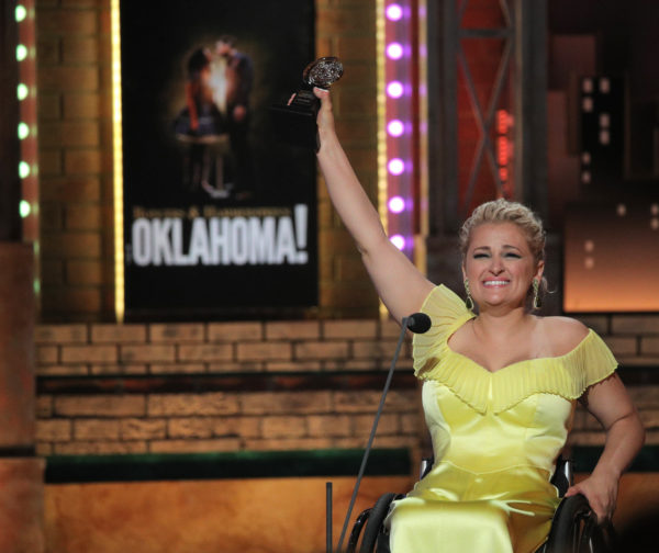 """Ali Stroker accepts the Featured Actress in a Musical award for """"Rodgers and Hammerstein's Oklahoma!"""" Photo by Brendan McDermid/Reuters"""