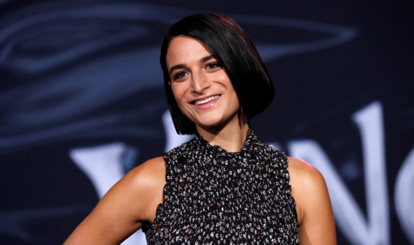 """Jenny Slate attends the premiere for the movie """"Venom"""" in Los Angeles, California, on October 1, 2018. Photo by Mario Anzuoni/Reuters"""