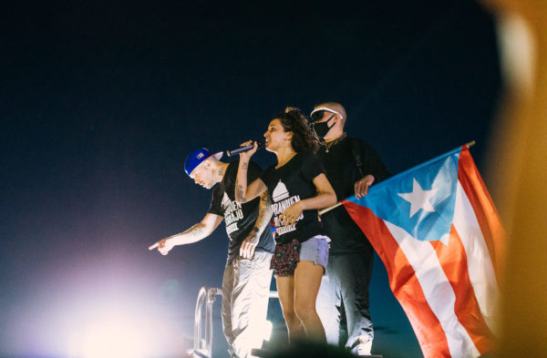 Puerto Rican musicians iLe, her brother Resident and Bad Bunny are performing during protests in Puerto Rico. Photo credit: Alejandro Pedrosa