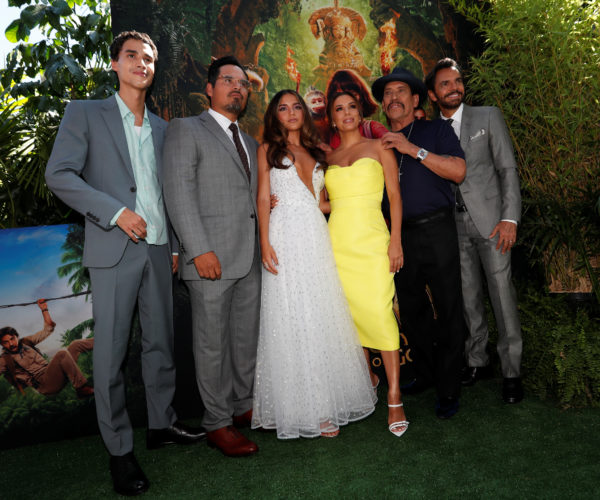 """Jeff Wahlberg, Michael Pena, Isabela Moner, Eva Longoria, Danny Trejo and Eugenio Derbez attend the premiere for the movie """"Dora and the Lost City of Gold"""" in Los Angeles, California, U.S., July 28, 2019. A USC study looking at films between 2007 and 2018 found Latinos made up a small portion of actors in main roles. Photo by Mario Anzuoni/Reuters"""