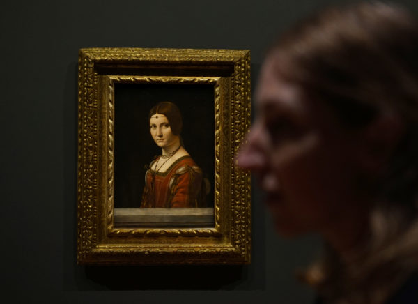 """The lady in Leonardo da Vinci's """"La Belle Ferronniere,"""" perhaps second only to the """"Mona Lisa,"""" carries a trademark inscrutable expression. Photo by Joshua Barajas/PBS NewsHour"""