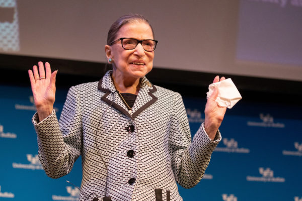 FILE PHOTO: U.S. Supreme Court Justice Ruth Bader Ginsburg waves to guests after a reception where she was presented with a honorary doctoral degree at the University of Buffalo School of Law in Buffalo, New York, U.S., August 26, 2019. REUTERS/Lindsay DeDario/File Photo