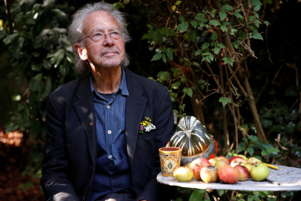 Austrian author Peter Handke is pictured at his house, following the announcement he won the 2019 Nobel Prize in Literature, in Chaville, near Paris, France October 10, 2019. Photo by Christian Hartmann/Reuters