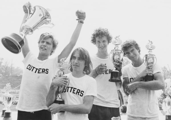 Dennis Christopher as Dave, Jackie Earle Haley as Moocher, Daniel Stern as Cyril and Dennis Quaid as Mike in the 1979 film Breaking Away. (Photo by John Springer Collection/CORBIS/Corbis via Getty Images)