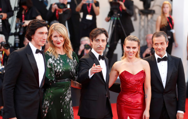 """Actors Adam Driver, Laura Dern and Scarlett Johansson, director Noah Baumbach and producer David Heyman pose during red carpet arrivals for the 76th Venice Film Festival and the screening of the film """"Marriage Story"""" on August 29, 2019 Photo by Yara Nardi/Reuters"""