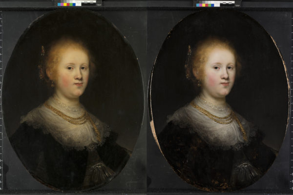 """These two photos show the before (L) and after restoration of a painting called """"Portrait of a Young Woman."""" The Allentown Art Museum now believes that the 1632 painting, which had been attributed to an unspecified artist in Rembrandt's workshop, is a work from the Dutch master himself. Photos courtesy of the Allentown Art Museum"""