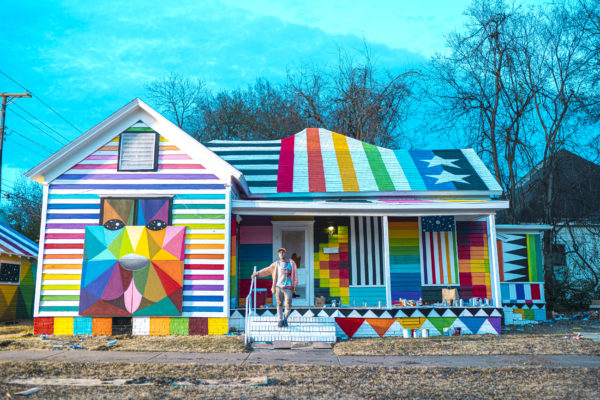 """""""Rainbow Embassy"""" (2019) by Okuda San Miguel. Photo courtesy of Ink and Movement"""