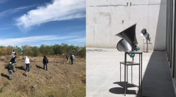 """On the left, civilian group Las Rastreadoras de El Fuerte search in the desert for mass graves in Los Mochis, Mexico. On the right, artist Luz María Sánchez's sound piece """"V.[u]nf_4"""", which incorporates sounds from the desert searches. It appeared at the University Museum Contemporary Art in Mexico City last year. Photos courtesy by Luz María Sánchez"""