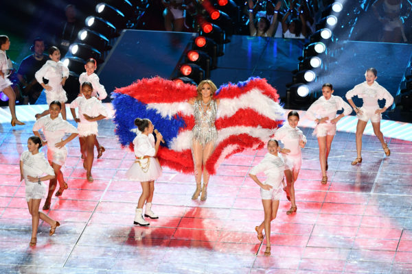 Recording artist Jennifer Lopez performs during the halftime show of the game between the San Francisco 49ers and the Kansas City Chiefs in Super Bowl LIV at Hard Rock Stadium. Photo by Jasen Vinlove/USA TODAY Sports