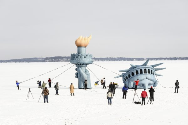 Lady Liberty atop Lake Mendota, seen in February 2019. Photo by Jeff Miller. Photo courtesy of the University of Wisconsin-Madison.