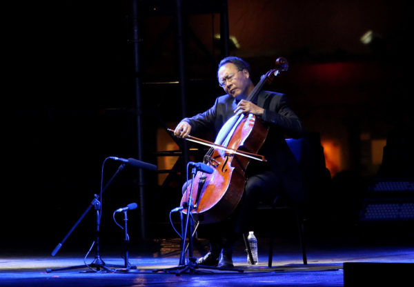 """Yo-Yo Ma performs during """"The Bach Project"""" concert in Mexico City, in March 2019. Photo by Adrián Monroy/Medios y Media/Getty Images"""