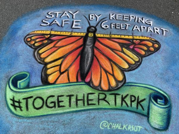 Artist Chelsea Ritter-Soronen of Chalk Riot has been drawing pavement murals in and around Takoma Park, Maryland. The murals are PSAs, messages of support and alerts to locals what restaurants are still open for takeout. Photo courtesy of Chelsea Ritter-Soronen/Chalk Riot
