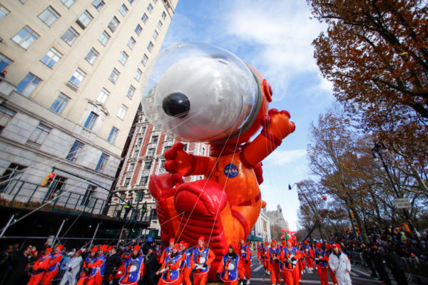 The Astronaut Snoopy balloon is carried during the 93rd Macy's Thanksgiving Day Parade in New York, U.S., November 28, 2019. Photo by REUTERS/Caitlin Ochs