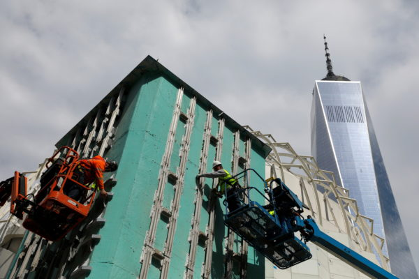 Construction crews work on The Saint Nicholas Greek Orthodox Church and National Shrine at the World Trade Center in the M...