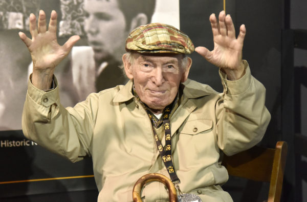 Jazzfest founder George Wein is interviewed during the 2019 New Orleans Jazz & Heritage Festival 50th Anniversary at Fair Grounds Race Course on April 25, 2019 in New Orleans, Louisiana. Photo by Tim Mosenfelder/WireImage