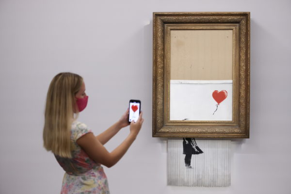Banksy's 'Love is in the Bin' photocall at Sotheby's