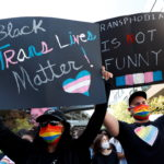 """Rally in support of the Netflix transgender employee walkout """"Stand Up in Solidarity"""", in Los Angeles"""